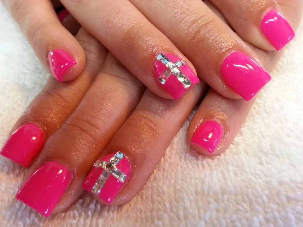 hot pink nails with diamonds-#35