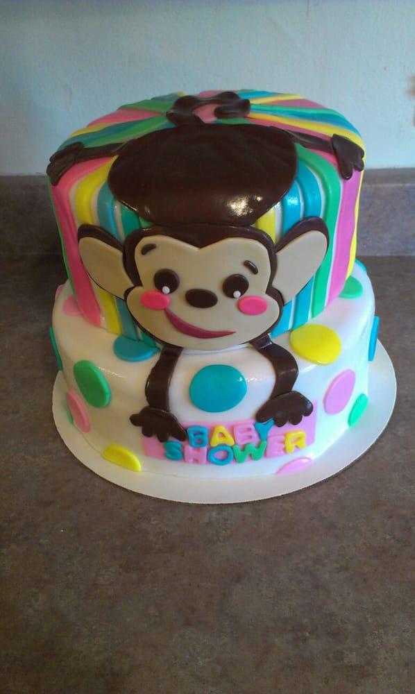 Monkey themed baby shower cake yelp - Baby shower monkey theme cakes ...