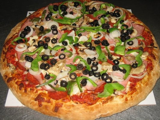 ... : Pepperoni, Ham, Mushrooms, Onions, Bell Peppers, and Black Olives