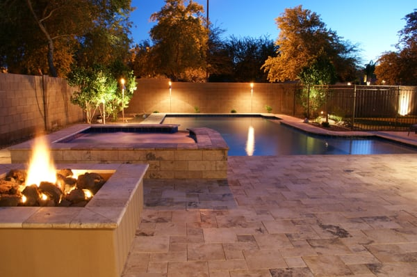 Arizona traditional designed swimming pool and spa for Pool design az
