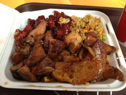 Fried rice, Cajun Potatoes, Bourbon Chicken, and Sweet and Sour Pork ...