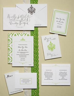 Letterpress Wedding Invitations with response card direction card
