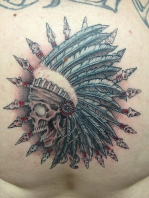 Indian Chief Head Skull Tattoo Indian chief skull done by jag