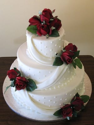 3 tier wedding cake purple