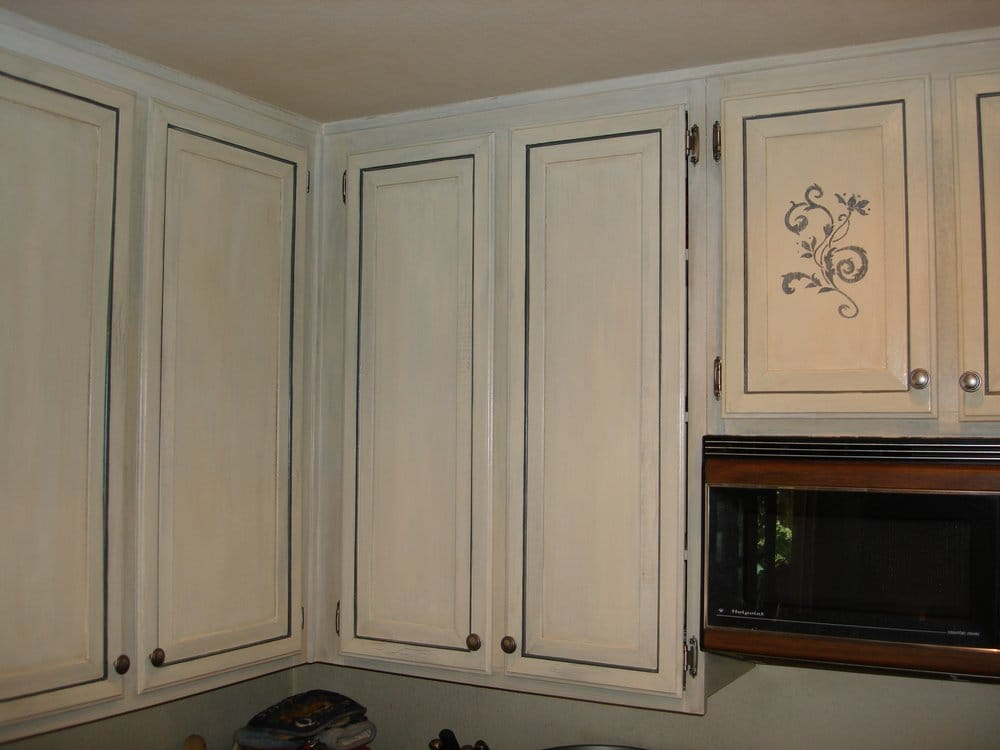 Meissen blue kitchen cabinets yelp for Blue washed kitchen cabinets