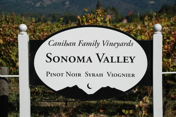 Canihan Family Vineyards Welcome Sign