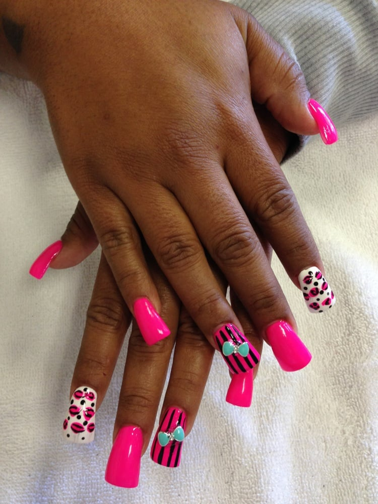 duck feet acrylics nail design and 3d bow by lily yelp