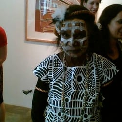 Jean Baptiste Apuatimi of the Tiwi Island people. Opening of a show of her paintings. June 2009 at Rebecca Hossack Gallery