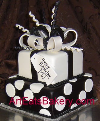 Two tier black and white square fondant birthday cake  Yelp