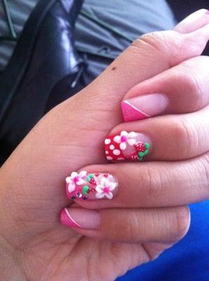 pink, strawberries, flowers, 3D nail art, kawaii, cute