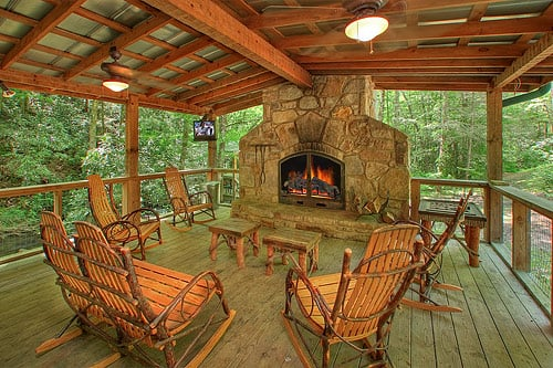 Covered outdoor fireplaces yelp for Park side cabin rentals gatlinburg tn