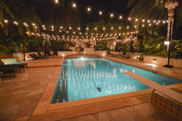 String Lights Over Pool : Market lights over pool with lighting stands in San Diego. Yelp
