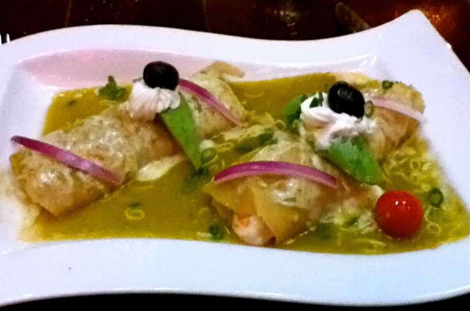 ... Enchilada: Crab & Shrimp filled. with spicy green sauce! | Yelp