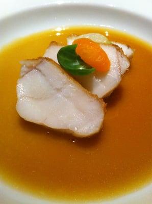 Monkfish. Roasted Monkfish; Brussel Sprouts, Mushroom Custard, Pata ...