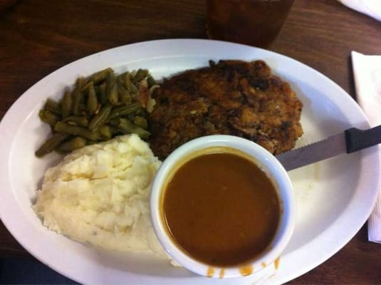 ... Chicken Fried Steak with Brown Gravy, Mash Potatoes, and Green Beans