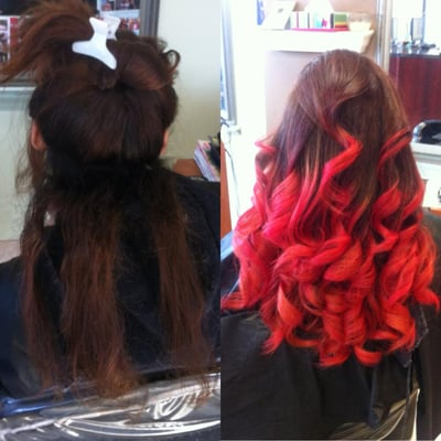 Ombre Hair Blonde To Red