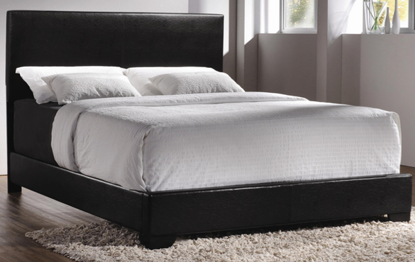 Queen Size Espresso Leather Bed And Euro Top Mattress Set