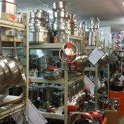 Lots of stainless steel pans and pots to choose from.