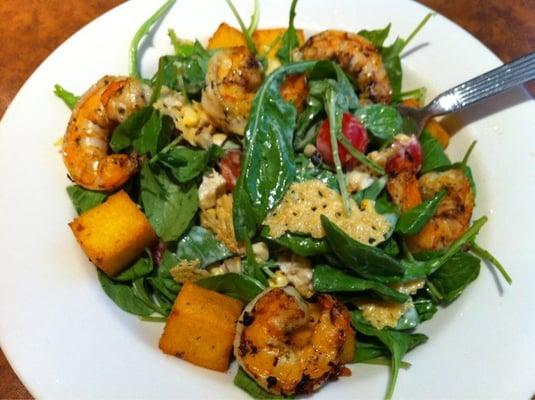 Grilled shrimp, polenta squares, sweet corn & arugula salad, | Yelp