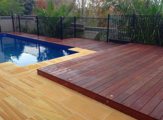 Merbau timber decking swimming pool surround yelp for Timber decking around pools