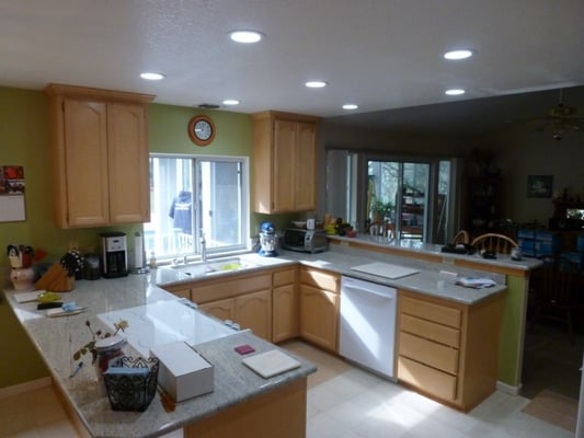 kitchen lighting upgrade complete 6 recessed lights with. Black Bedroom Furniture Sets. Home Design Ideas