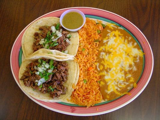 Two Tacos Plate - Two carne asada soft tacos with rice and ...