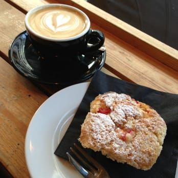 Flat White and Raspberry and Custard Muffin