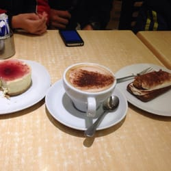 Raspberry cheesecake, mocha cappuccino, and tiramisu. Yum!