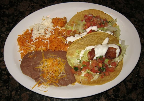 Pibil (citrus-marinaded pulled pork) Taco and Ensenada Shrimp Taco ...
