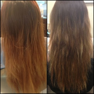 Left  My terribly flat and brassy ombr  233   Right  My ombr  233  after being    Brassy Brown Hair Fix