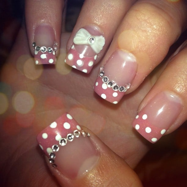 Acrylic Nails. Clear Base W/ Glitter Pink White Polka Dot
