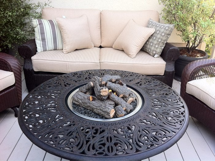 Tuscany Fire Pit With Ceramic Logs And Propane Burner Yelp