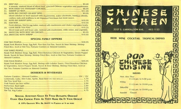 Number One Chinese Kitchen Menu