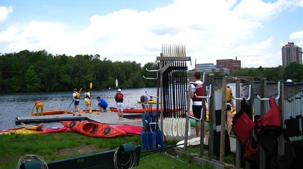 launching kayaking on Charles River - Charles River Boston Kayaking Trip
