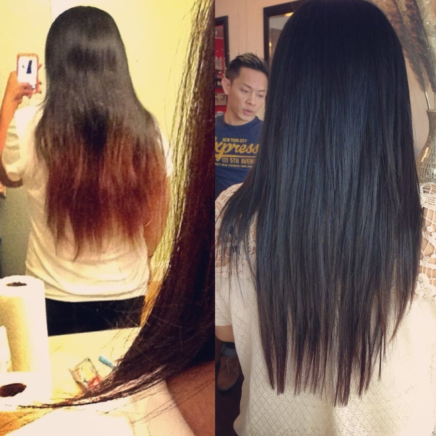 Before And After All The Split Ends Amp Colored Highlighted
