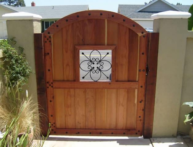 Wood Gate With Wrought Iron Porthole Yelp
