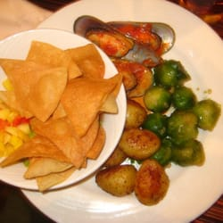 Mango Salsa W Chips Brussels Sprouts Baby Potatoes Mussels