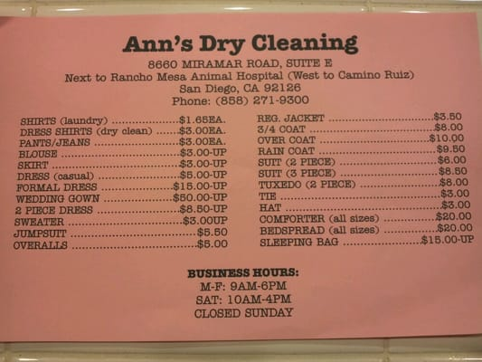 dry cleaning prices cleaners me prices 30704
