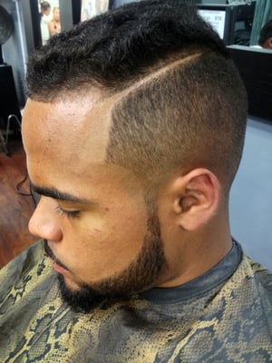 1 Fade w Part LineUp and Beard LineUp Cut by J Nice
