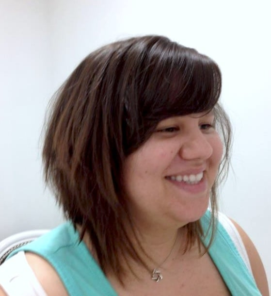 A-line Bob With Side Sweeping Bangs, Styled: Tousled Look