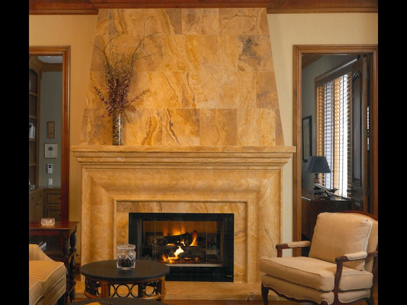 Desert Gold Travertine Fireplace Surround Yelp