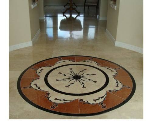 Natural Stone Floor Entryway Medallion And Hallway