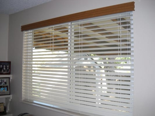 Decorative Wood Valance Over Faux Wood Blind Yelp