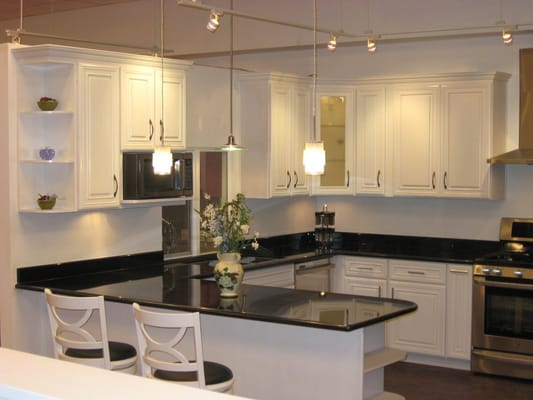 White Ivory Maple Cabinets With Black Galaxy Granite Yelp