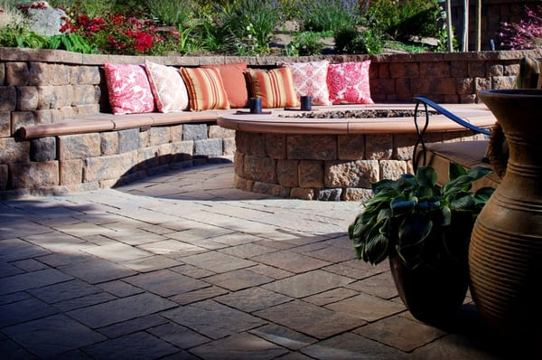 Paver Patio With Sitting Bench And Fire Pit In San Diego