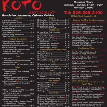Koto Restaurant Fredericton Menu