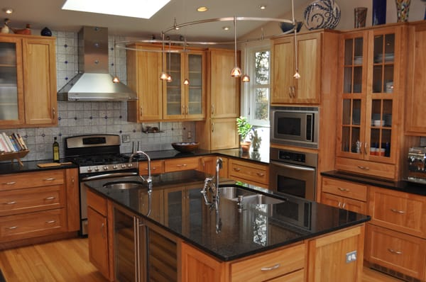 Custom Kitchen Addition with Maple cabinetry and black ... on What Granite Goes With Maple Cabinets  id=59813