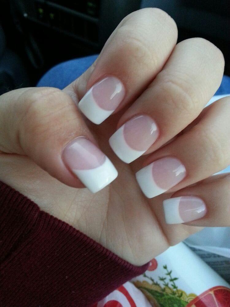 Powdered Gel Nails Design Vj Nails In Calgary Alberta: White Powder & Pink Powder W. Gel Top Coat $45. Worth It