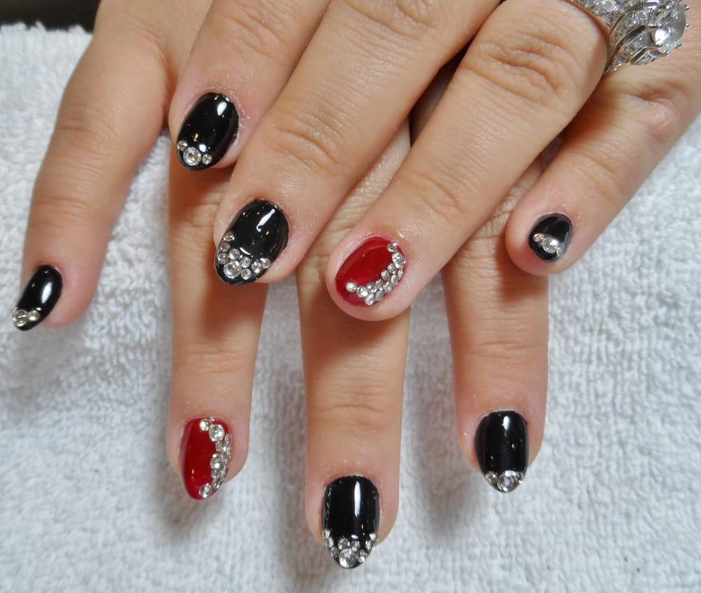 Black Amp Red Gel Nails With Rhinestones Design Yelp