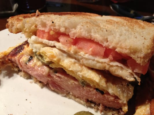 Dissected fried bologna sandwich -- check out how thick ...